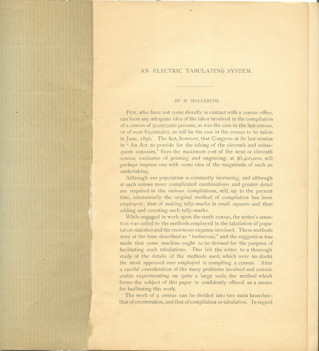 page 1 of the author's edition of the <i>Electric Tabulating System</i>