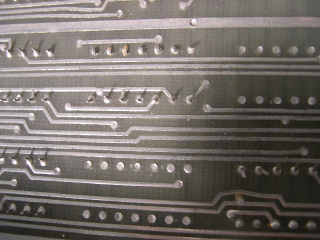 Tinned tracks on a circuit board.
