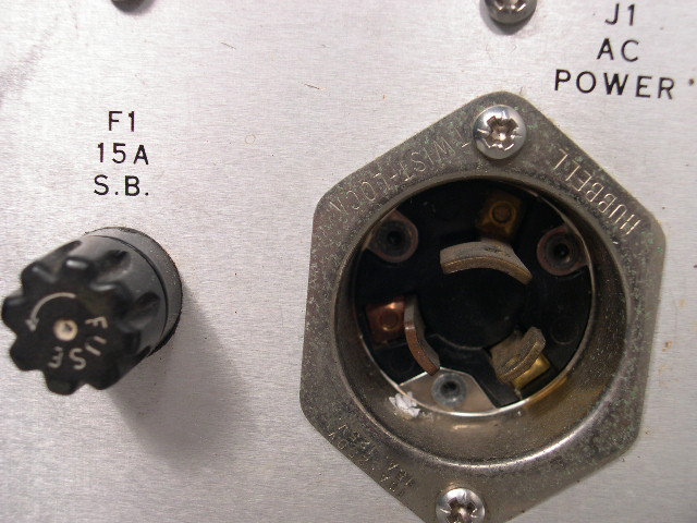 Close-up of the power supply fuse and Hubbell twist-lock.
