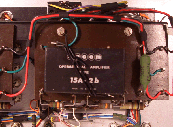 One of the operational amplifiers closeup.