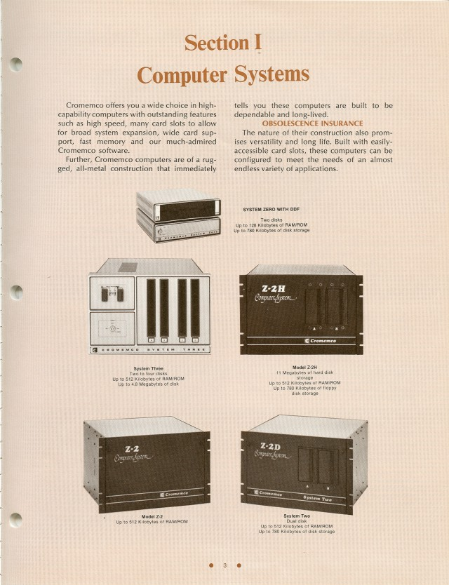 The computer systems offered in the Spring of 1981.