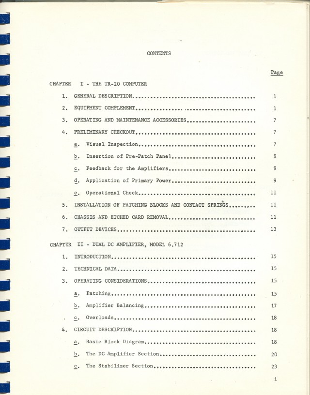 First page of an eight page table of contents.